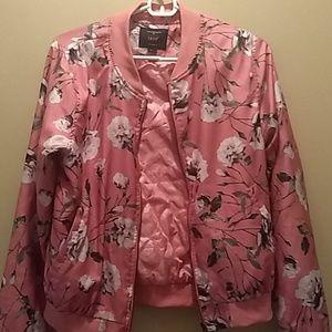 Pink floral jacket.
